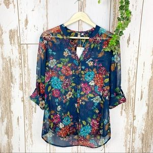KUT Sheer Navy Floral Button Down Shirt Blouse